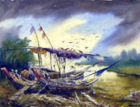 Boats on the bank under a monsoon sky by Milanendu Mondal