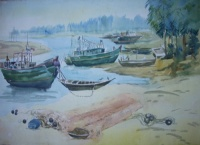 Boats Moored on a River Bank by Shyamal Ganguly